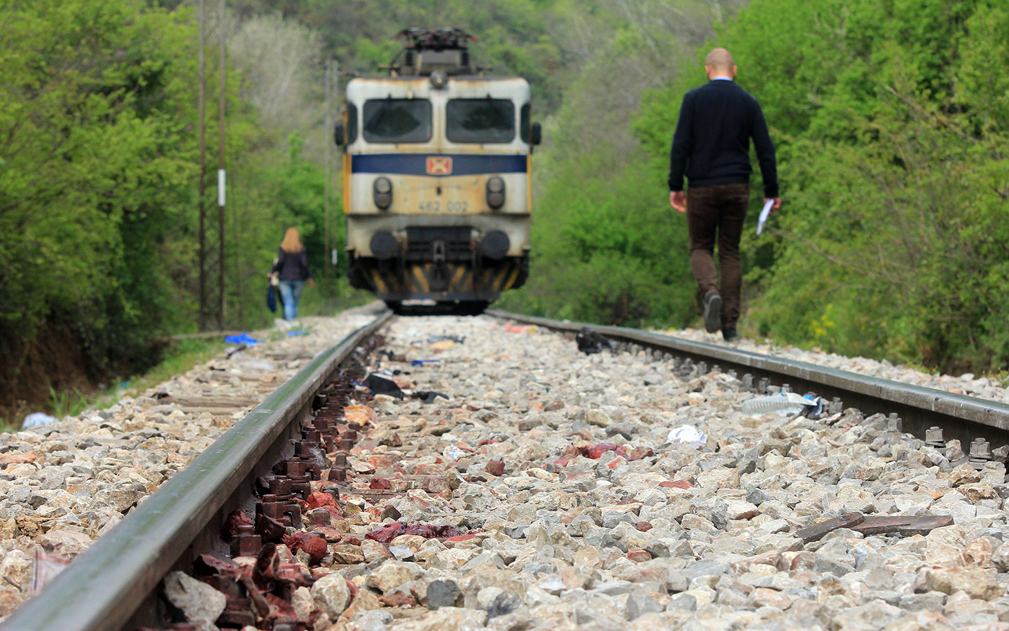 Picture taken on April 24, 2015 shows the railroad tracks near the town of Veles, central Macedonia, where at least 14 immigrants from Somalia and Afghanistan were killed when they were hit by an international passenger train. In the past six months around a dozen migrants had been killed in similar incidents on the same stretch of line. AFP  PHOTOS / STRINGERSTRINGER/AFP/Getty Images